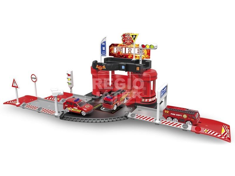 kép nagyítása Tűzoltó parkolóház és helikopter leszálló fém kisatóval és tűzoltóval
