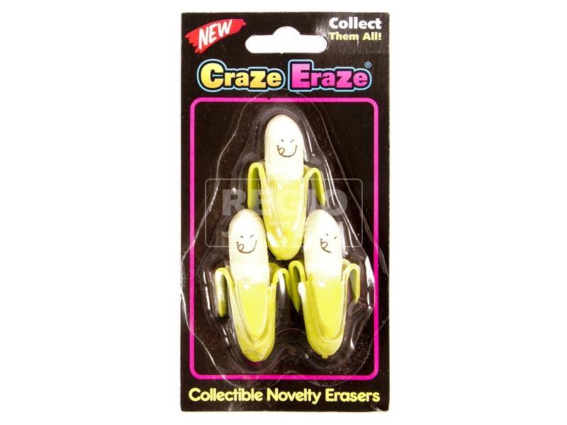 Banán radír 3 darabos készlet - többféle