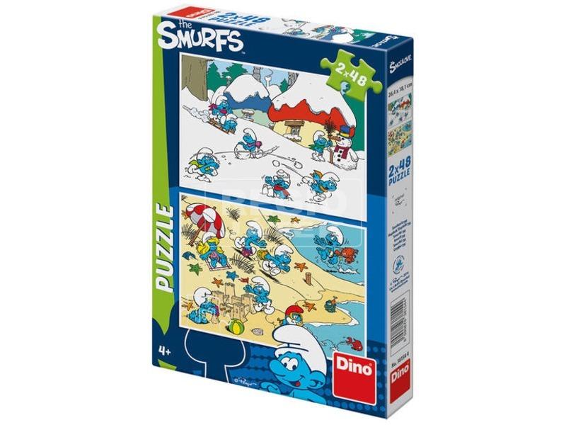 Hupikék törpikék 3 - 2 x 48 darabos puzzle