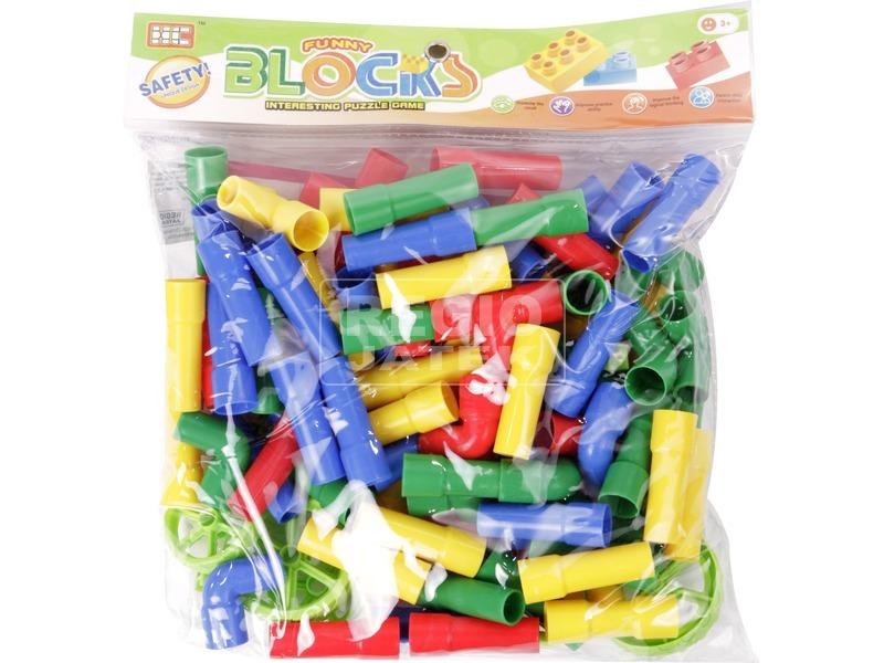 Csövek műanyag 60 darabos építőjáték