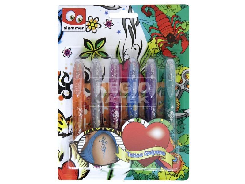 Tetováló filctoll, 6 db /csomag