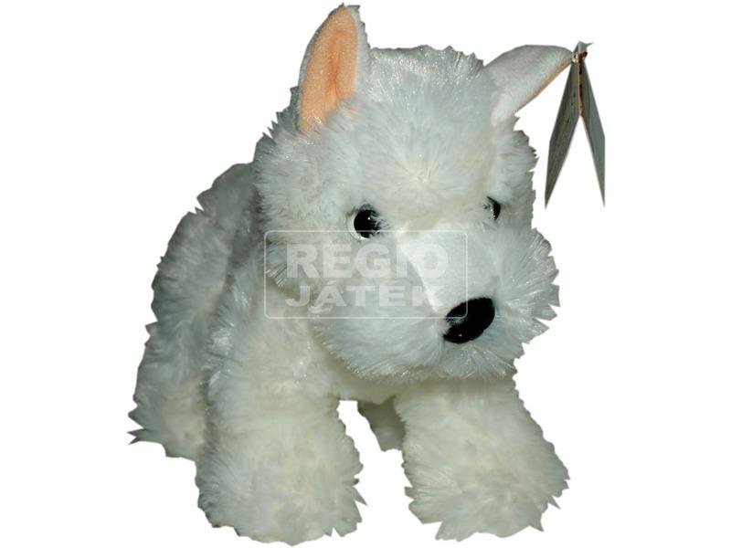 Terrier kutya plüssfigura - fehér, 25 cm