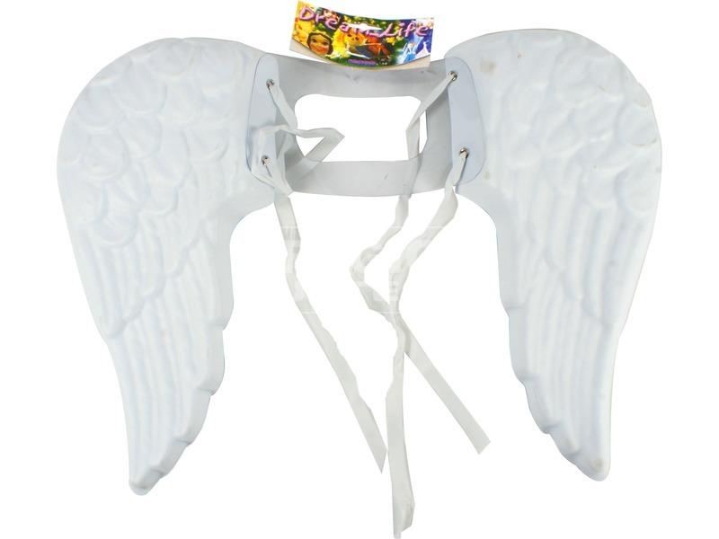 Műanyag angyalszárny - fehér, 38 cm