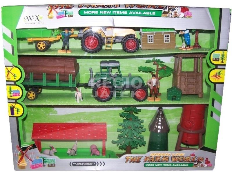 Mezőgazdasági készlet traktorral és épülettel