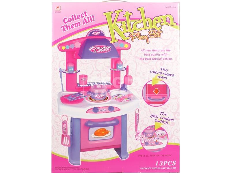 13 darabos konyhakészlet - rózsaszín