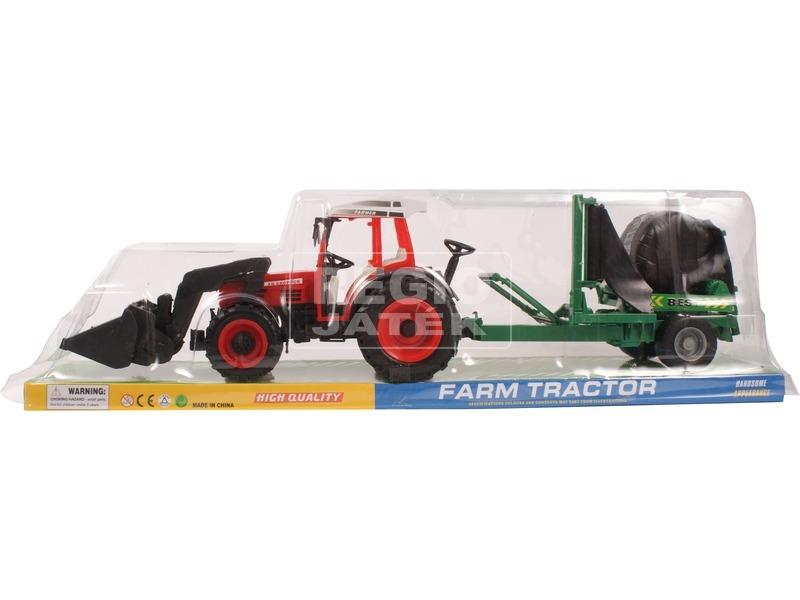 Lendkerekes farm traktor utánfutóval - 55 cm