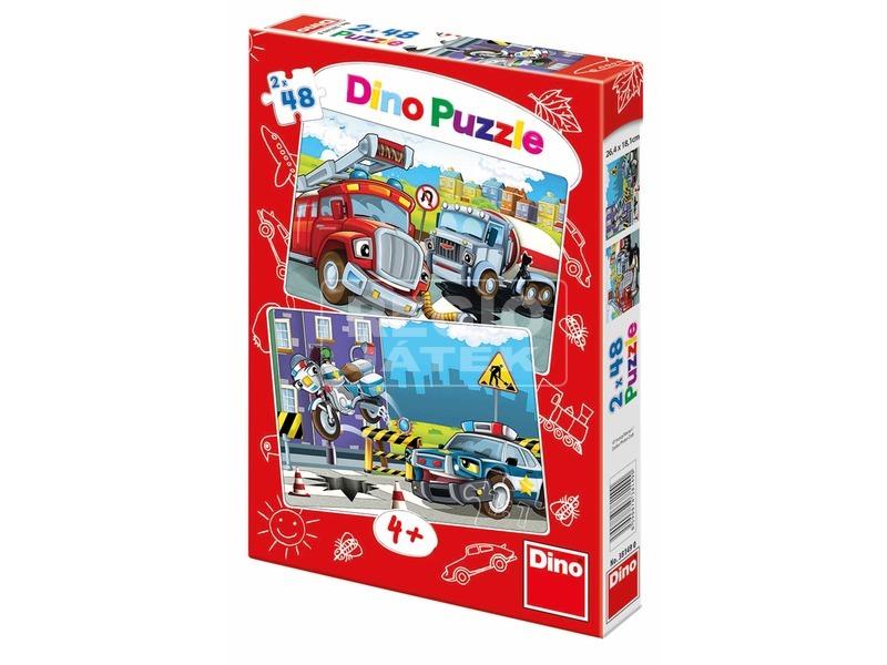 Rendőrök és tűzoltók 2 x 48 darabos puzzle