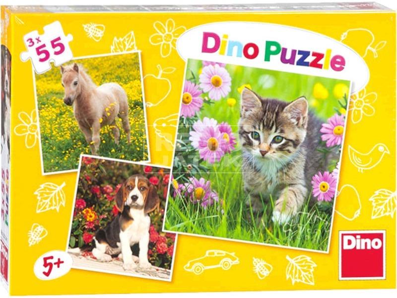 Állatkölykök 3 x 55 darabos puzzle