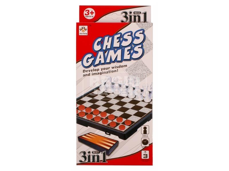 3 az 1-ben sakk és társasjáték készlet