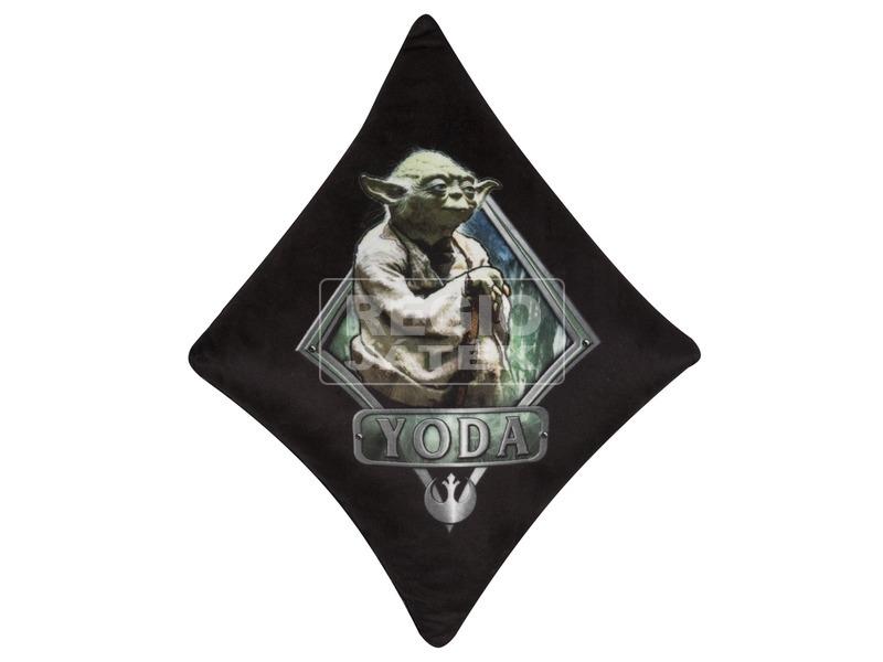 Star Wars: Yoda plüss díszpárna - fekete-zöld, 27 x 28 cm