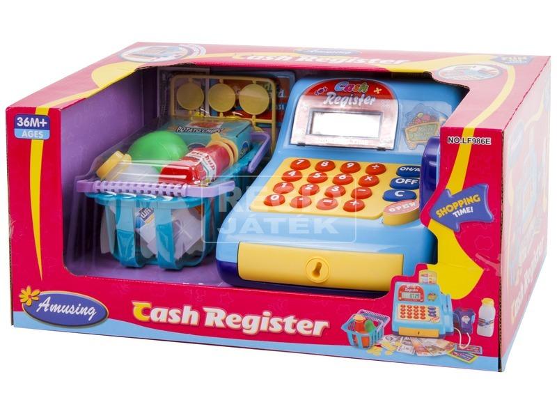 Pénztárgép bevásárlókosárral - világoskék
