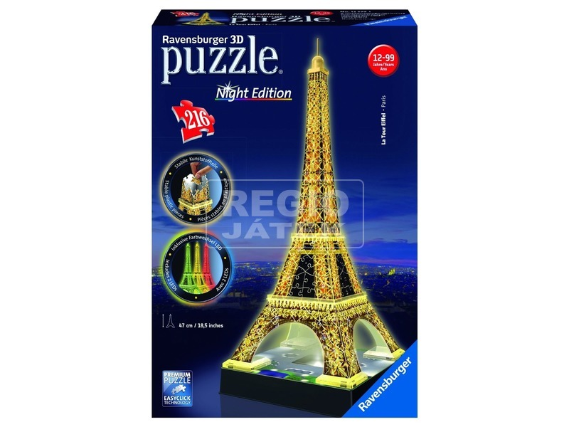 Eiffel-torony 216 darabos 3D puzzle fénnyel