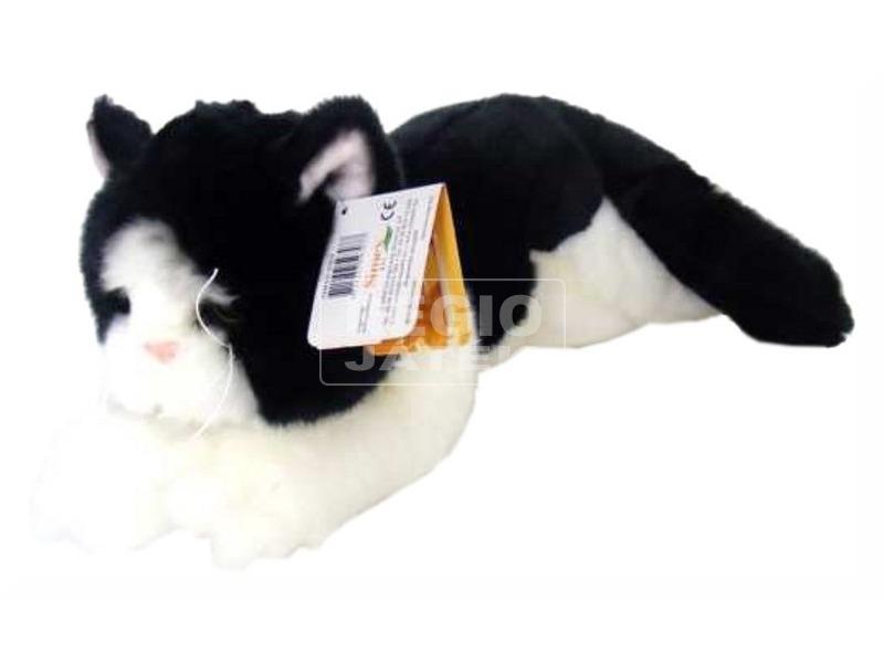 Cica fekvő plüssfigura - fekete-fehér, 27 cm