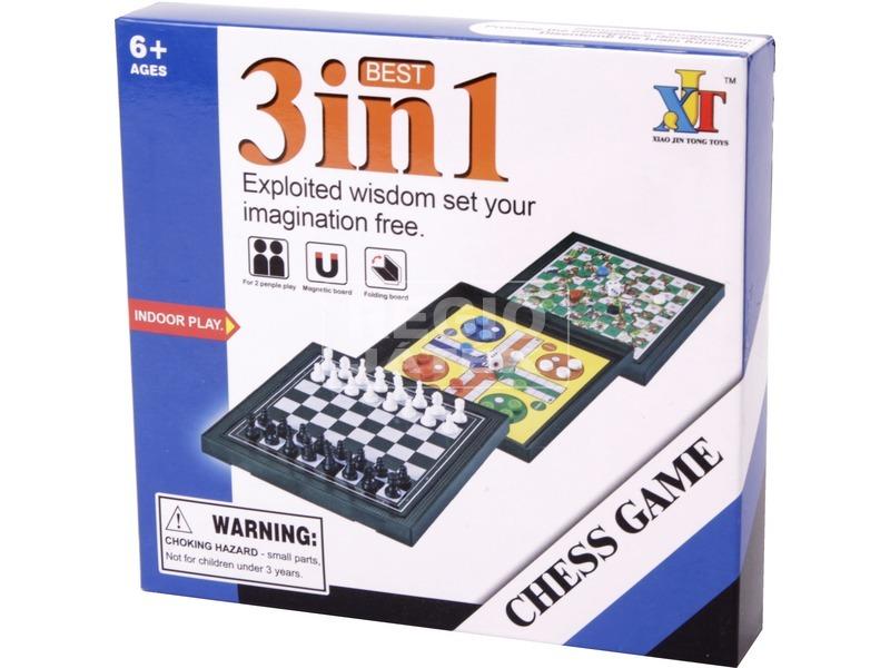 3IN1 mágneses őti társasjáték (sakk, ki nevet a végén, létrák és kígyók)