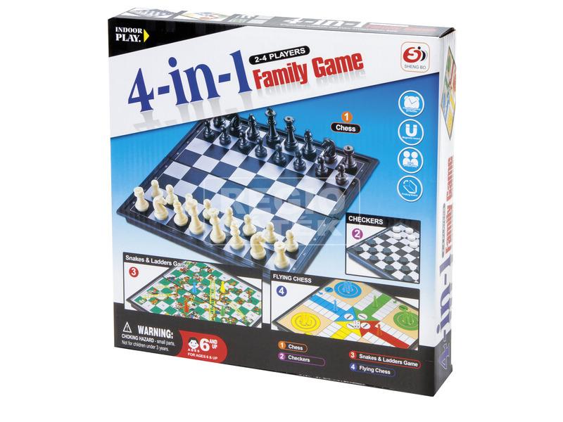 4IN1 társasjáték (sakk, dáma, ki nevet a végén, létrák és kígyók)