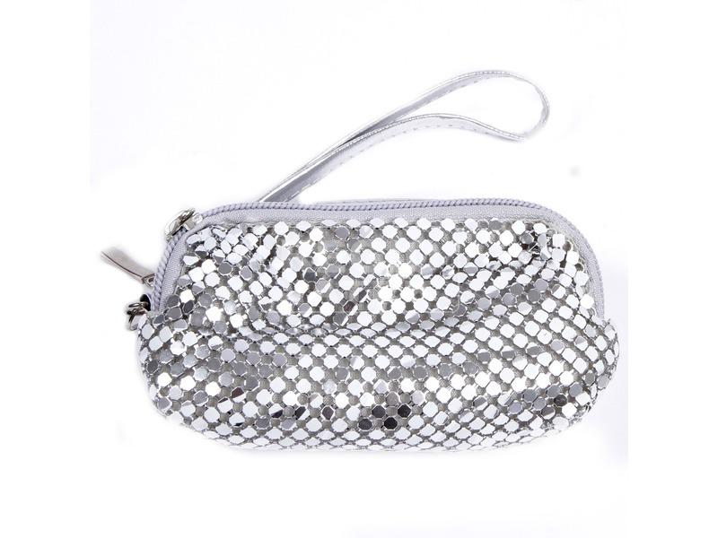 Fémes mobiltartó táska - ezüst