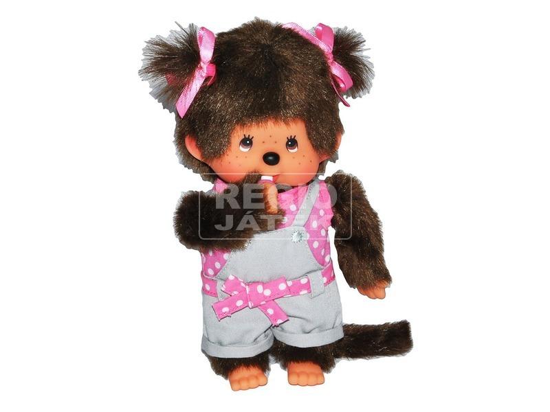 Monchhichi rózsaszín pöttyös ruhás lány plüssfigura - 20 cm
