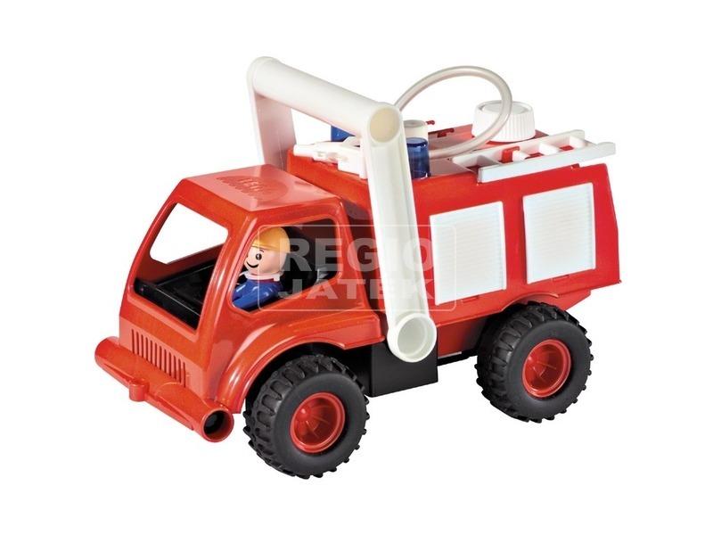 Műanyag tűzoltóautó fecskendővel - 26 cm