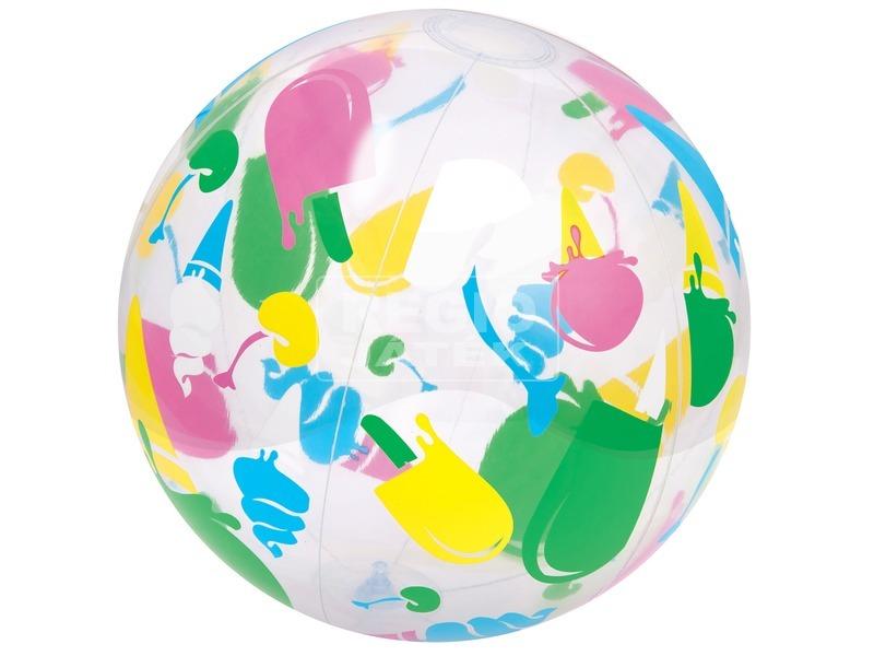 kép nagyítása Mintás átlátszó strandlabda - 61 cm, többféle