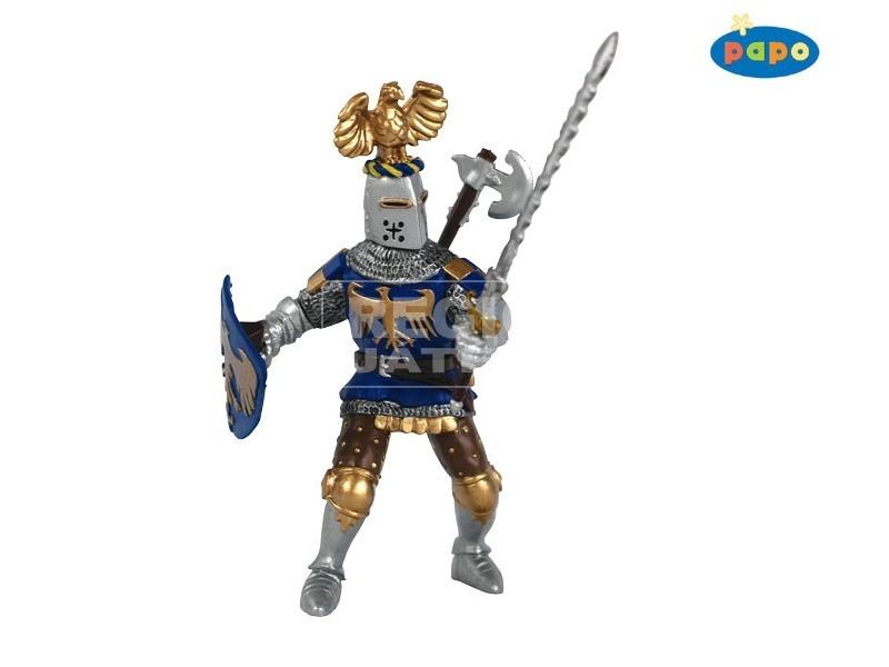 Papo kék lovag fegyverekkel figura