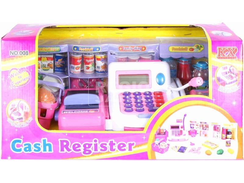 Pénztárgép mikrofonnal - rózsaszín-fehér