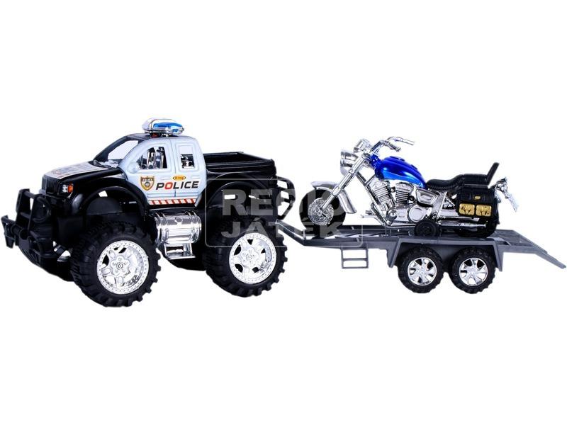 Lendkerekes rendőrségi jármű szett motorral