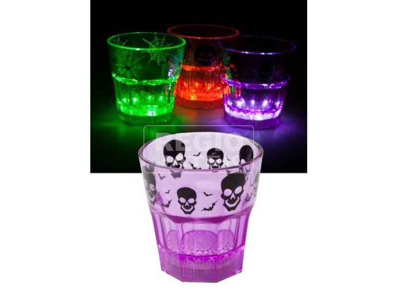 Halloween világító pohár - lila, koponya mintás