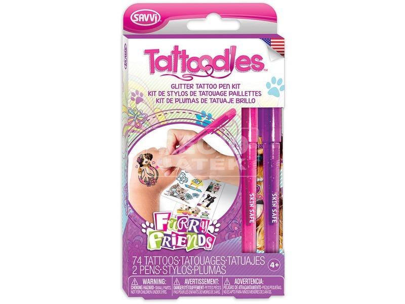 Savvi Tetováló készl. csillámtollal lányoknak