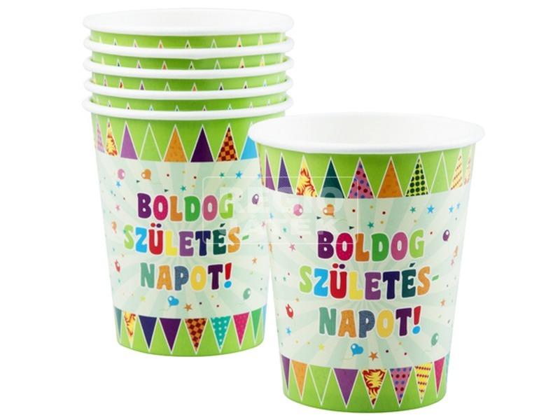 Boldog szülinapot papír pohár 6 darabos - 250 ml