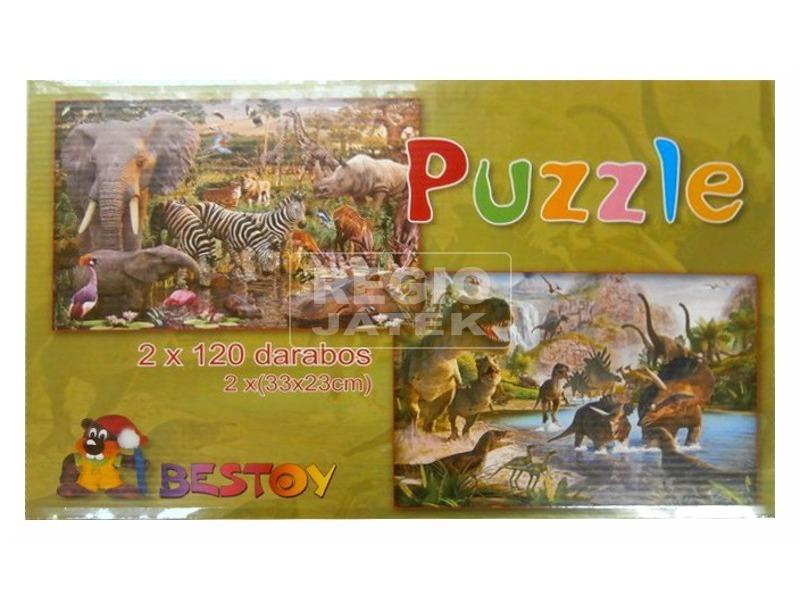 Puzzle 2x120-as Térkép /Vadállat kirakó