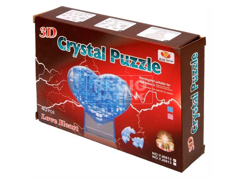 Szív 40 darabos kristály puzzle - kék