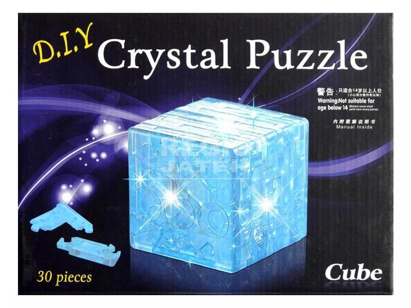 3D kristály puzzle - kocka - 30 db, 3 féle