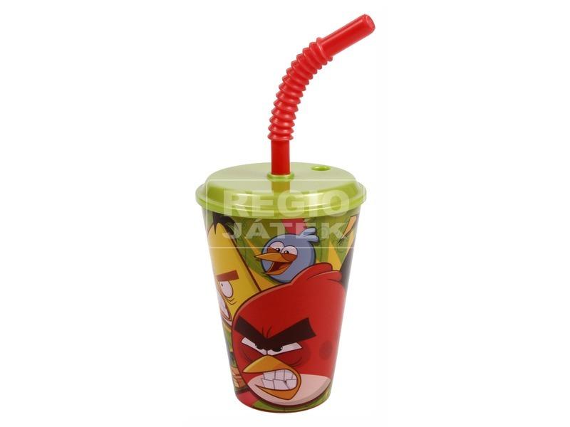 Angry Birds pohár szívószállal - zöld, 300 ml