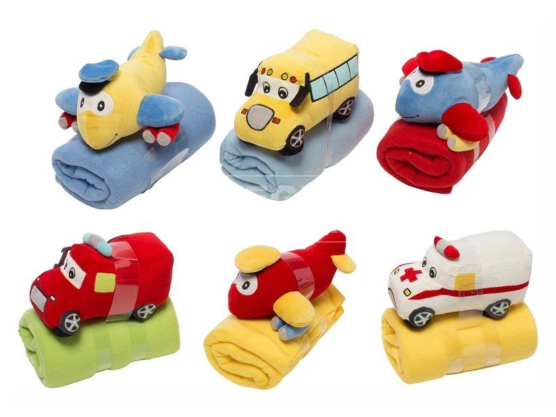 Plüss bébi jármű és takaró 4féle 4szín