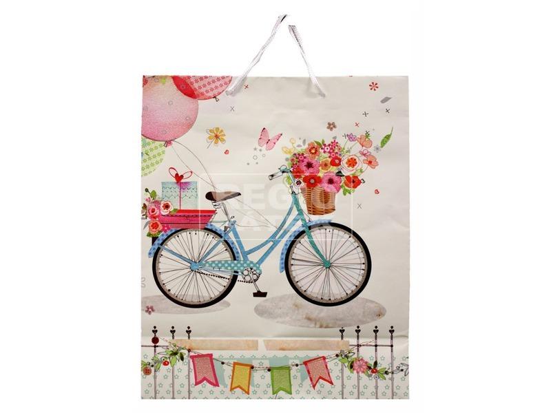 Papírtasak bicikli virággal 23x18cm