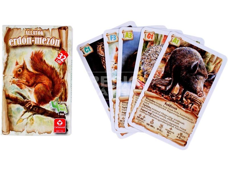 Állatok erdőn-mezőn 4 az 1-ben kártyajáték