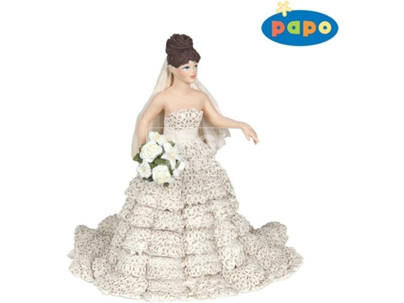 Papo menyasszony csipkeruhában figura
