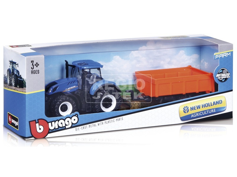 Bburago New Holland traktor emelővel, 10 cm