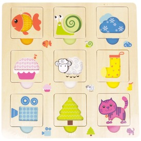 Állatok fa keretes 9 darabos puzzle