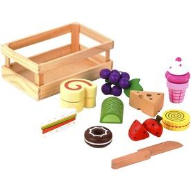 Fa élelmiszer vágható készlet