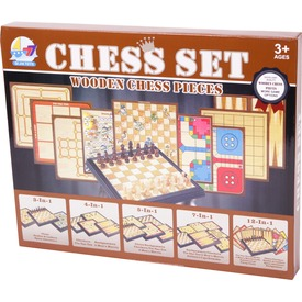 5 az 1-ben fa sakk és társasjáték készlet