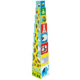 Bébi állatos toronyépítő kocka 8 darabos készlet