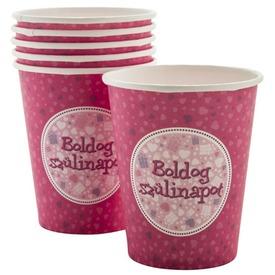 Szülinapi papír pohár 6 darabos - 250 ml, pink