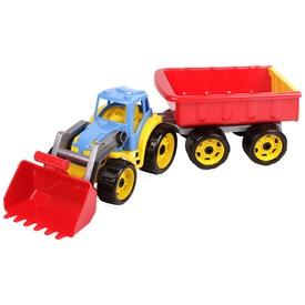 Műanyag traktor utánfutóval - 65 cm, többféle