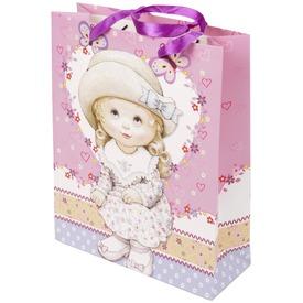 Lány mintás ajándéktáska - 32 x 26 cm