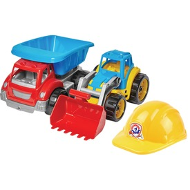 Műanyag dömper, traktor és sisak készlet