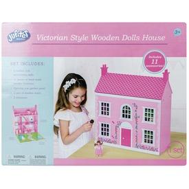Rózsaszín fa házikó babával és bútorokkal - 58 cm