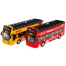 Emeletes busz, fémből. Zenél és világít