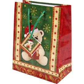 Macis ajándéktáska - bordó-zöld, 23 x 18 cm