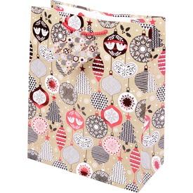 Karácsonyi ajándéktáska - piros-fekete, 32 x 26 cm